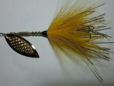 SPINNER BAIT PIKE  MUSKY  Buck Tail  #6  24K Gold WILLOW BLADE Yellow  TAIL