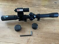 4x20 Telescopic Air Rifle Scope 9-11mm Mounts & Red Dot Laser with Mount