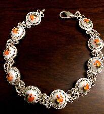 SALE! Enamel Russian Rostov Vintage Style Finift Bracelet. Hand painted. White