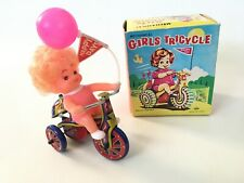 Vintage TIN GIRLS TRICYCLE Mechanical BOX / NEW !! WIND-UP Working  by MTU KOREA