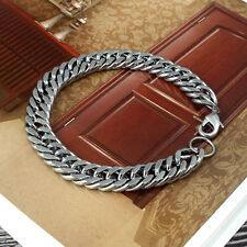 Silver Punk Men's Stainless Steel Chain Link Bracelet Wristband Bangle Jewelry