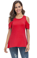 Coreal Womens Short Sleeve Cold Shoulder T Shirts Casual Round Neck Tunic Tops