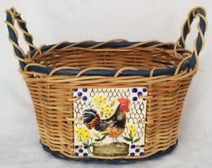 BEAUTIFUL Decorative BASKET Rooster Ceramic Tile