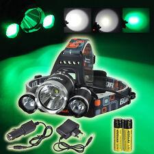 BORUiT 13000LM XML T6+2R5 Green 3X LED Headlamp Head Light Torch 18650+Charger