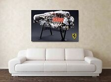 Ferrari V8 Engine - 30x20 Inch Canvas - Formula One Framed Picture F1