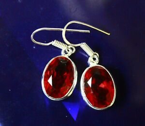 25.10 Carat Elegant 925 Silver Earrings For Women Red Topaz Jewelry A Pair/Set