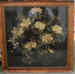 Antique Early 20C Chinese Silk Embroidery Panel w/ Flowers & Insects