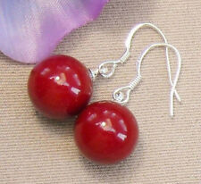 Genuine 14mm Red South Sea Shell Pearl Round Beads Silver Dangle Earrings PE261