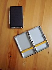 Metal Plain Black Leather Double Sided King & 100's Cigarette Case New