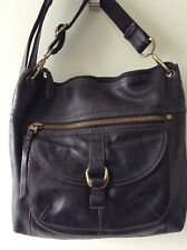 FOSSIL real leather ladies black larger size messenger crossbody shoulder bag