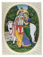 "Painting Radha Krishna Fine Handmade India Miniature Artwork Resin tile 6"" X 8"""
