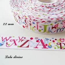 Ruban gros grain blanc Alphabet multicolore de 22 mm vendu au mètre