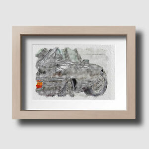 60's British Classic Car Watercolour Dads Garage Wall Art Print Picture Unframed