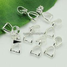 Wholesale 100pcs Silver Plated Pendant Pinch Bails Connectors 14x5mm