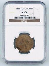 1869 Jamaica Half Penny 1/2P NGC MS-64 KM#16