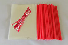 "50 x RED CAKE POP KIT 6"" LOLLY STICKS 4""x 6""(100x150mm)CELLO BAGS & POLKA TIES"