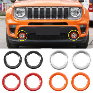 For 2019-2020 Jeep Renegade ABS Plastic Front Fog Light Frame Cover Trim 2pcs