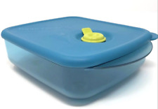 Tupperware Vent N Serve Container 2 1/2 cup Microwave Safe Peacock Aqua Blue New