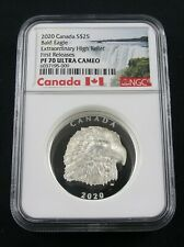 2020 CANADA $25 SILVER PROUD BALD EAGLE EXTRAORDINARY HIGH RELIEF NGC PF 70 FR