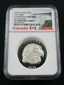 2020 CANADA BALD EAGLE EXTRAORDINARY HIGH RELIEF NGC PF 70 FIRST RELEASES