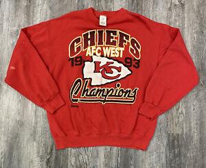 Vintage KC Chiefs NFL Football Jostens Sweatshirt Men's Sz XL 93 AFC Champions