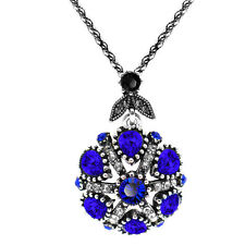 Vintage Style Dark Blue Silver Round Flower Pendant Corn Chain Necklace N497