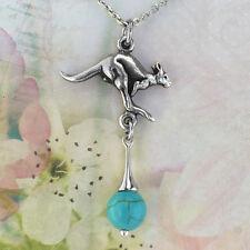 Kangaroo Souvenir Necklace Turquoise Magnesite Australiana Gift, Australian Made