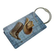 Cowboy Hat and Boots Country Suitcase Bag ID Luggage Tag Set