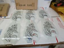 NEW OK TOUCH LAMP REPLACEMENT GLASS PANELS ROSES 638-4W FREE SHIPPING