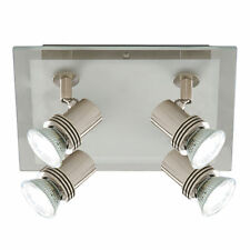 Searchlight 7844-4 Top Hat Satin Silver 4 Light Spotlight Clear Frosted Glass