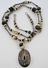 Ethnic Tribal Bone Carved Wood Beads Silver Tone Hook Clasp Necklace Pendant