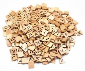 100 WOODEN SCRABBLE TILES BLACK LETTERS & NUMBERS FOR CRAFTS ART WOOD UK SELLER