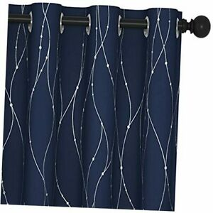 Navy Blackout Curtains and Drapes 84 Inch Length 2 W52 X L84 Navy Blue/Silver