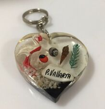 Puerto Vallarta LUCITE Vintage Keychain Key Ring Key Chain with Inclusions