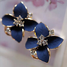 Fashion Women Elegant Blue Flower Charm Crystal Ear Stud Earrings Clip-On High