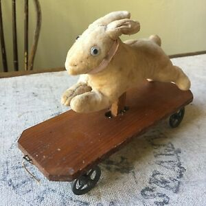 Early 1900s Antique Mohair Rabbit Platform Pull Toy - Very Good Condition