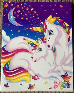 Vintage Lisa Frank Unicorns & Crescent Moon Pocket Folder Unpunched Stuart Hall