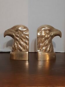 "Set Of American Bold Eagles Brass Bookends Made In The USA 5.25"" x 4"""
