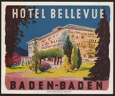 Hotel Koffer Etikett / luggage label - Hotel Bellevue Baden-Baden Germany