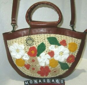 Patricia Nash seasonal Collection Ossi Floral Crocheted Satchel Multi Colored
