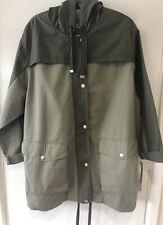 New Topshop Jacket Size 12 Khaki Green Hooded Anorak Military Style Pockets