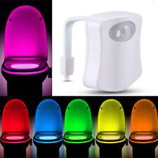 LED Toilet Bathroom Night Light PIR Motion Activated Seat Sensor 8 Color Changes
