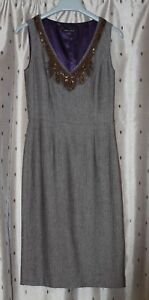Laura Ashley Sleeveless Brown Herringbone Beaded Shift Dress With Wool ~ Size 8