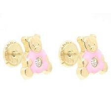 14K Y Gold Baby Children Screw-Back Teddy Bear Earrings Enamel Pink w/ Crystal