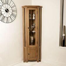 Rustic Solid Oak Display Cabinet Glazed Corner Cupboard Home Furniture