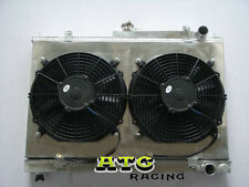 For NISSAN SKYLINE R33 R34 GTS-T RB25DET Aluminum Radiator+Fan Shroud+2 pcs fan