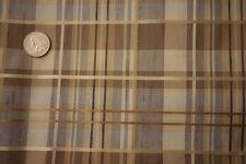 "2 Yds x 55"" Plaid Synthetic Rayon Raw Silk Shiny Medium Weight Upholstery Fabric"