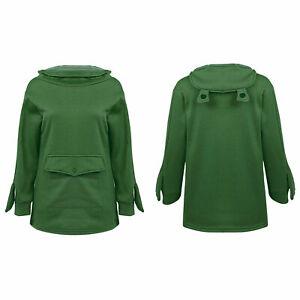 Women Frog Hoodie Zipper Hooded Top Pullover Sweatshirt Casual Long Sleeve Top