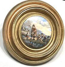 Antique Vintage 19C Continental Hand Painted Porcelain Round Wall Plaque Gilt