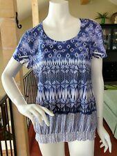 Chico's Blue & White Embellished Top Short Sleeve Smocked Waist Chicos 2 M